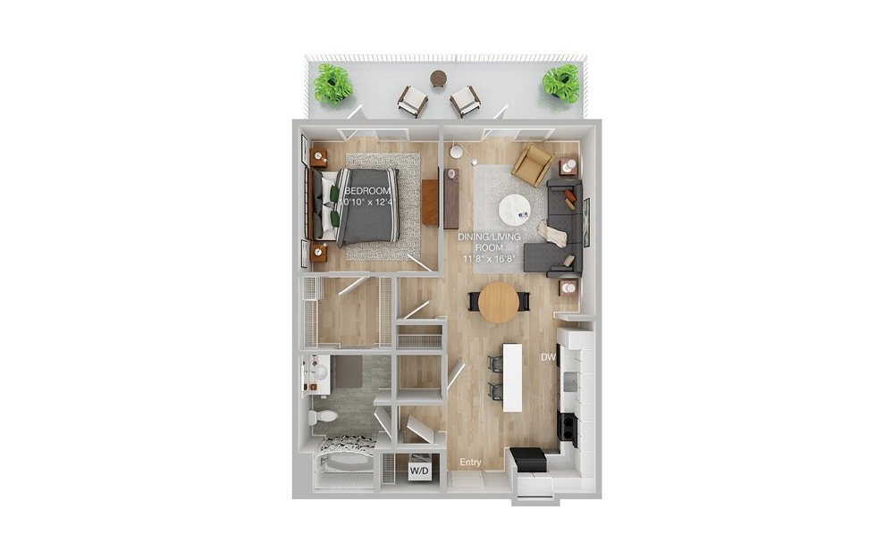 A1B 1 Bed 1 Bath Floorplan