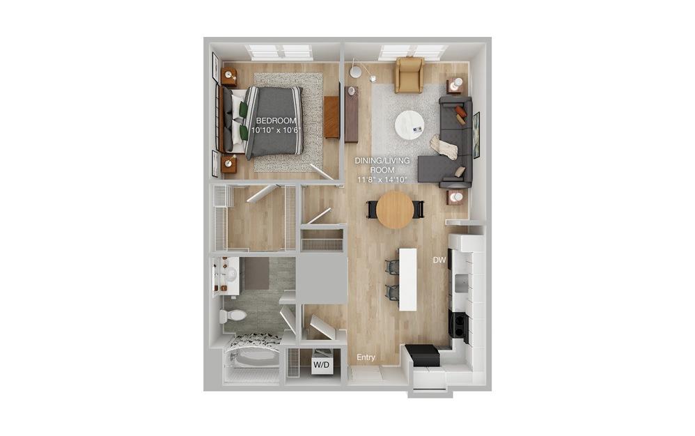 A1A 1 Bed 1 Bath Floorplan