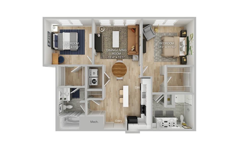 B1-A 2 Bed 2 Bath Floorplan