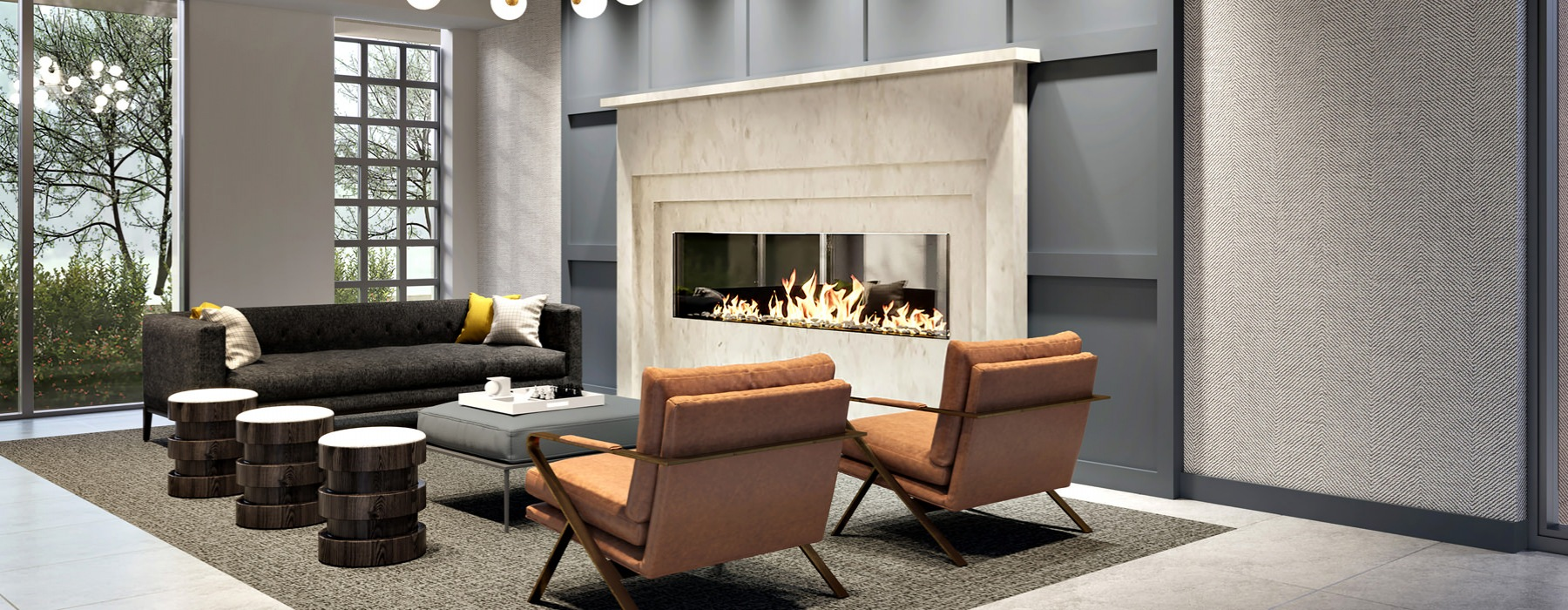 Lobby Area with Fire Place